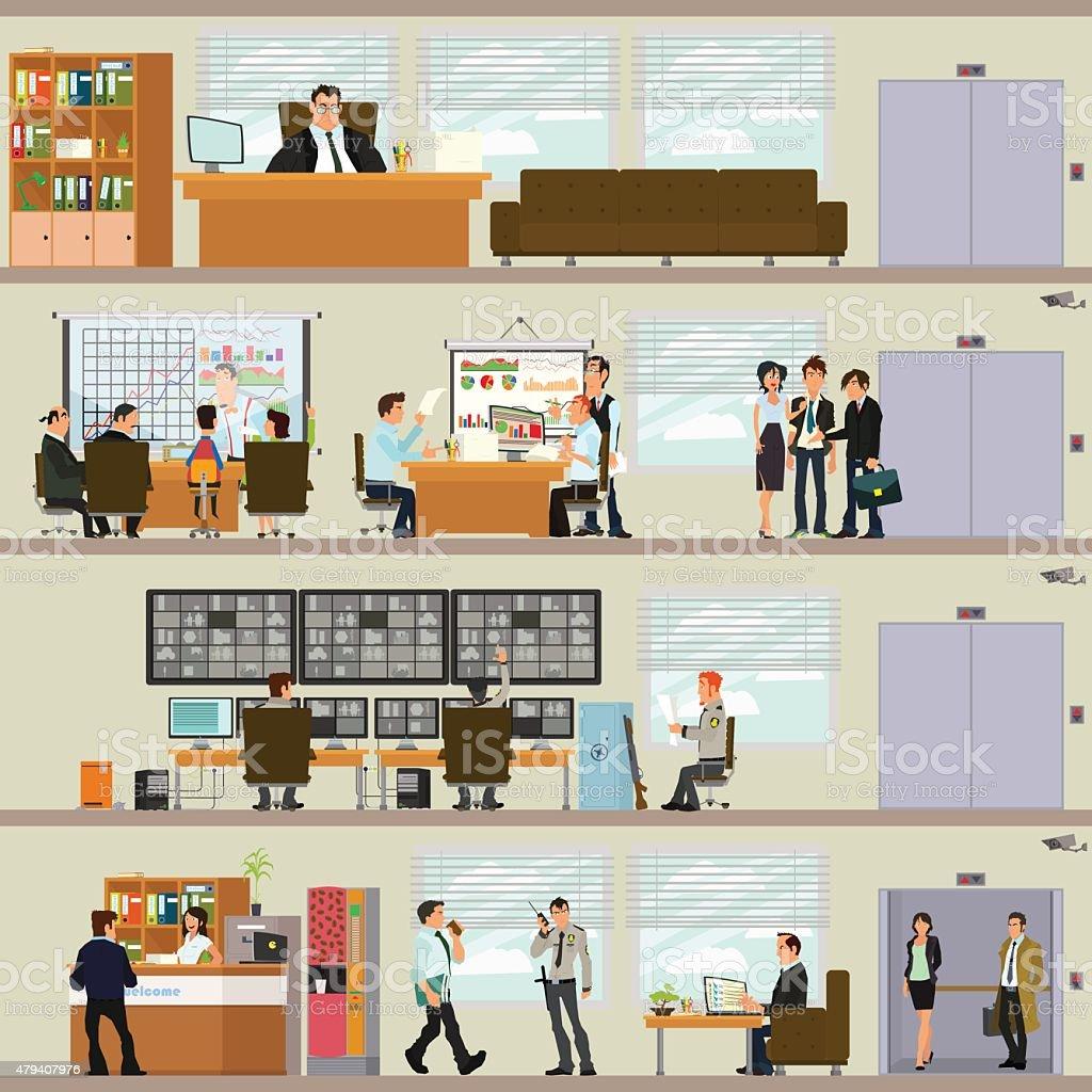 Interior office vector art illustration