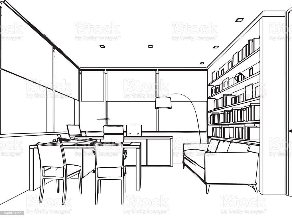 Drawing Lines In Office : Interior outline sketch drawing perspective of a space