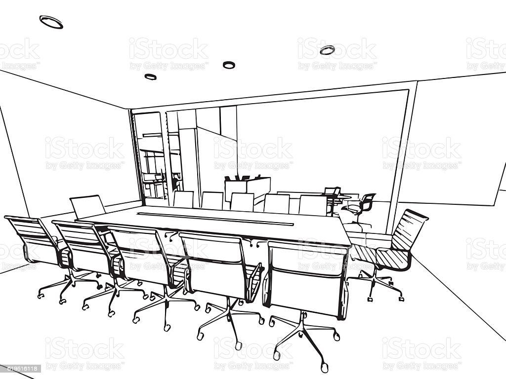 Ilustración De Interior Resumen De Dibujo Dibujo Perspectiva De Un
