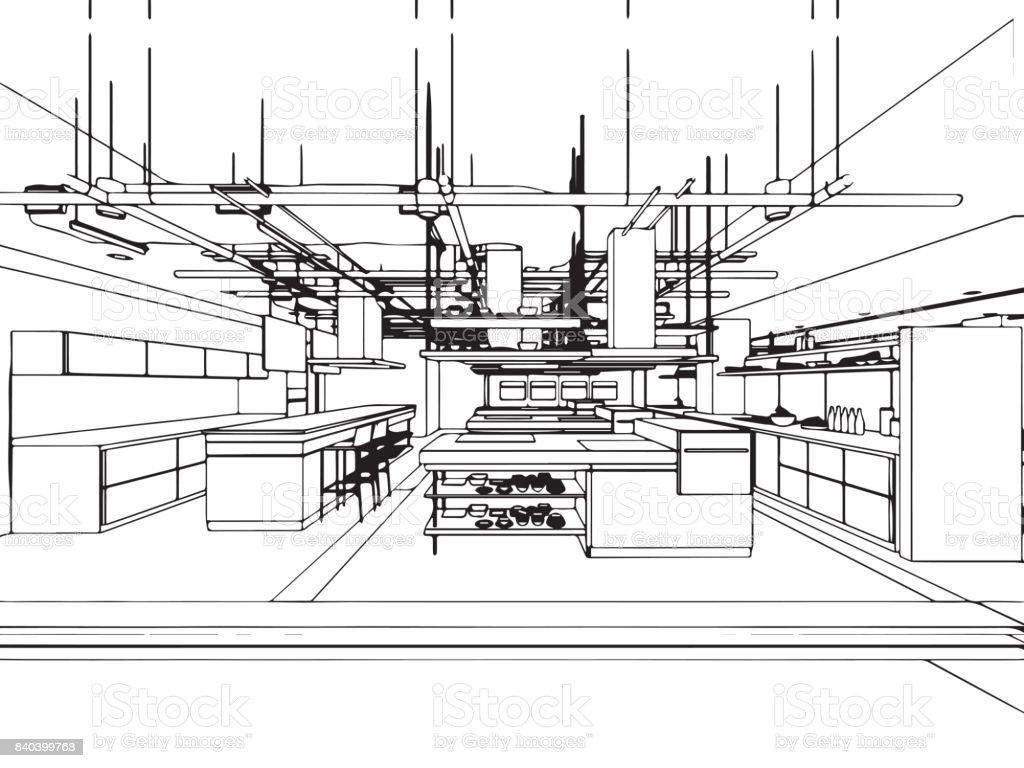 Ilustración De Oficina Interior Esquema Esbozo De Dibujo Perspectiva