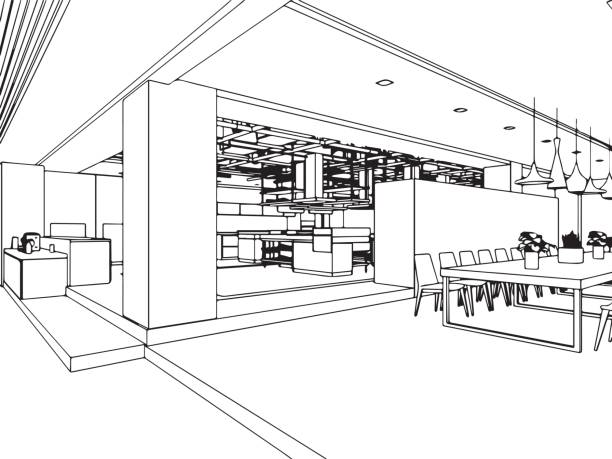 interior outline sketch drawing perspective office interior outline sketch drawing perspective of a space office interior designer stock illustrations