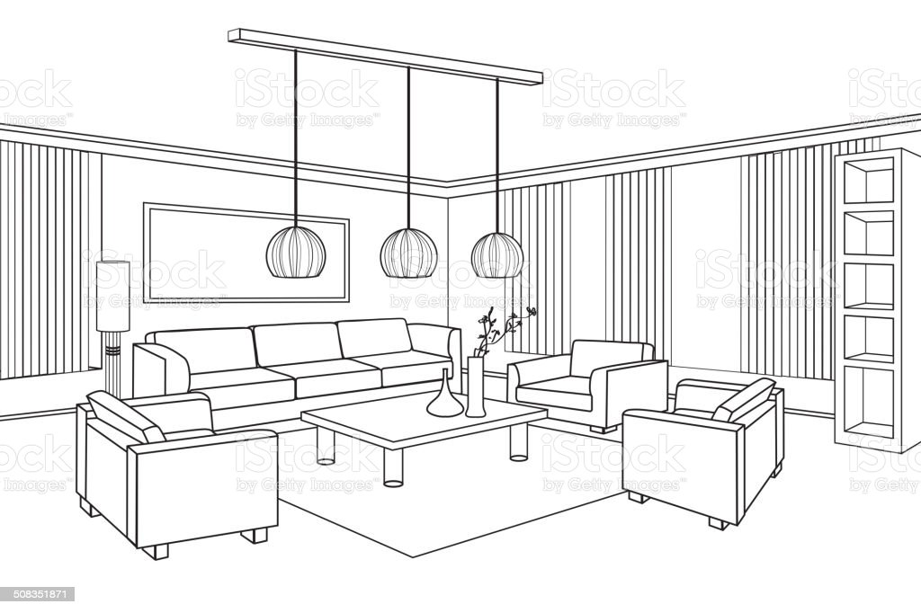 Interior Outline Sketch. Furniture Blueprint. Flat Design Plan.  Royalty Free Interior Outline