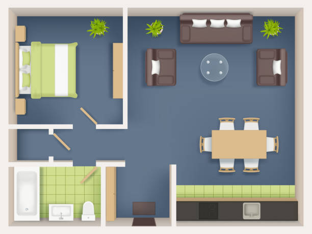 Interior plan top view. Realistic appartment livingroom bathroom badroom furniture table wardrobe sofa chairs tables vector realistic Interior plan top view. Realistic appartment livingroom bathroom badroom furniture table wardrobe sofa chairs tables vector realistic. Illustration interior top view, furniture plan living room bedroom backgrounds stock illustrations
