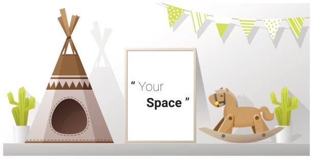Interior poster mock up frame in child room , vector , illustration Interior poster mock up frame in child room , vector , illustration bedroom borders stock illustrations