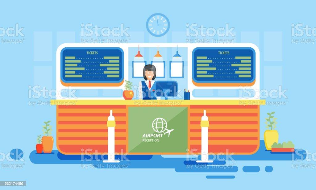 interior, reception, information desk, getting ticket, reception desk at airport vector art illustration