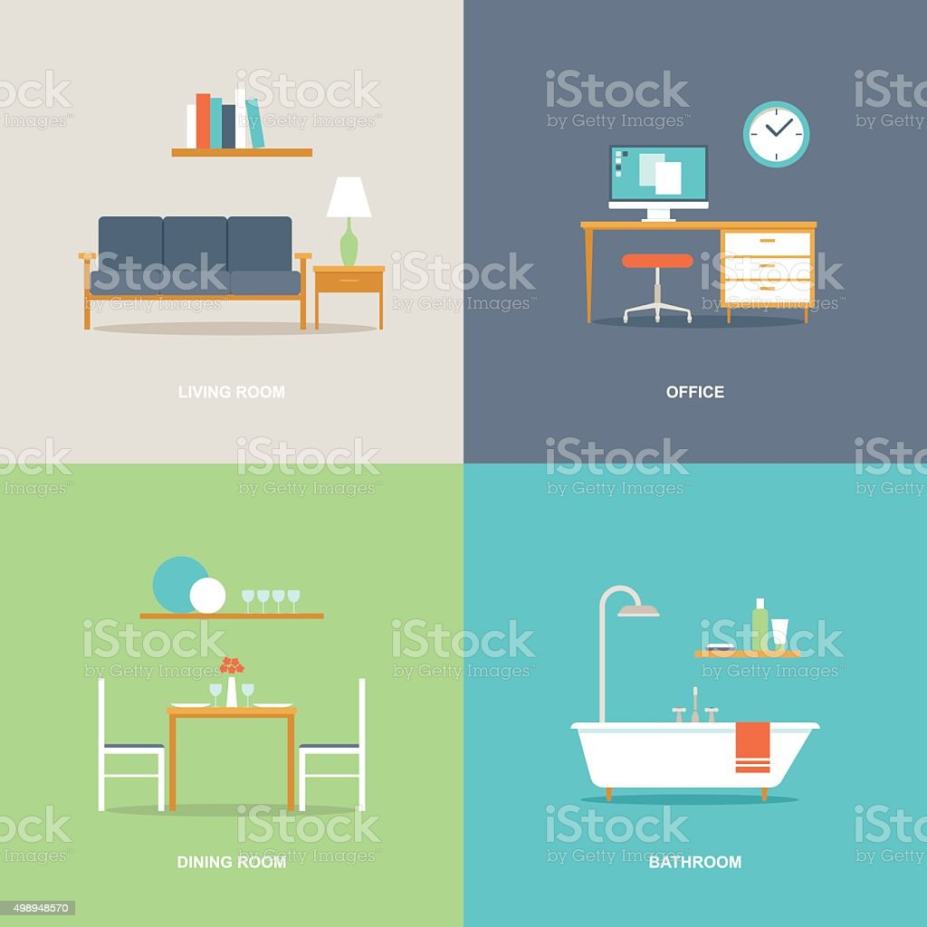 Interior room types furniture icons vector art illustration