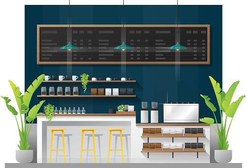 Interior scene of modern coffee shop counter bar , vector , illustration