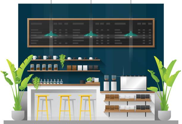 ilustrações de stock, clip art, desenhos animados e ícones de interior scene of modern coffee shop counter bar , vector , illustration - kitchen counter