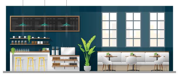 ilustrações de stock, clip art, desenhos animados e ícones de interior scene of modern coffee shop with counter bar , tables and chairs , vector , illustration - kitchen counter