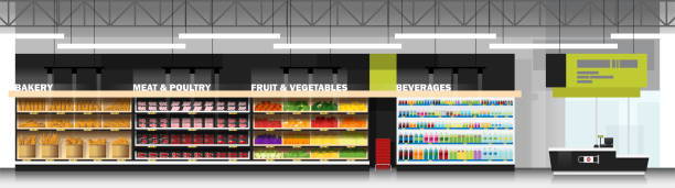 Interior scene of modern supermarket with products and cashier counter , vector , illustration Interior scene of modern supermarket with products and cashier counter , vector , illustration grocery aisle stock illustrations