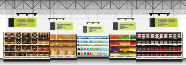 Interior scene of modern supermarket with products background , vector , illustration Interior scene of modern supermarket with products background , vector , illustration grocery aisle stock illustrations