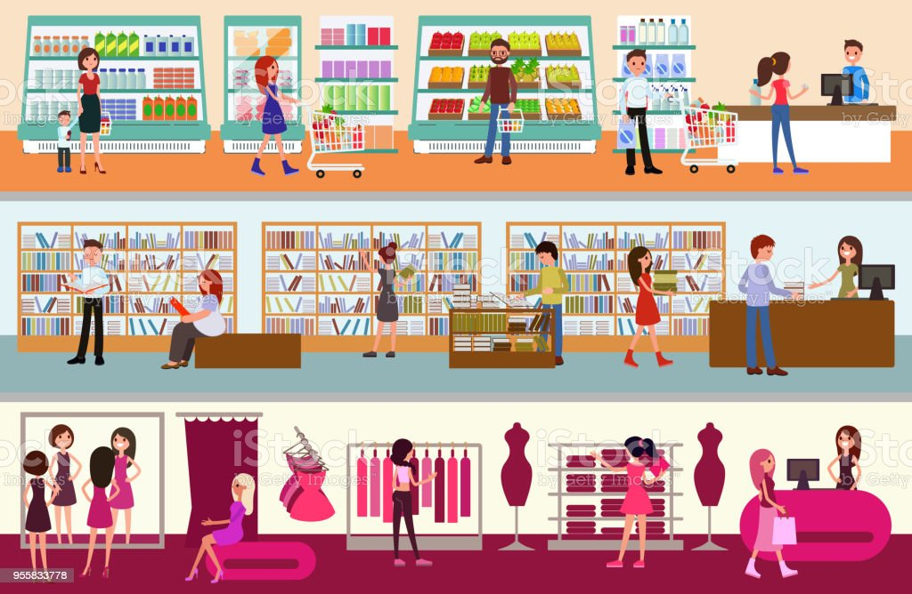 interior shopping center. people shopping vector art illustration