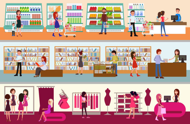 interior shopping center. people shopping - butik stock illustrations