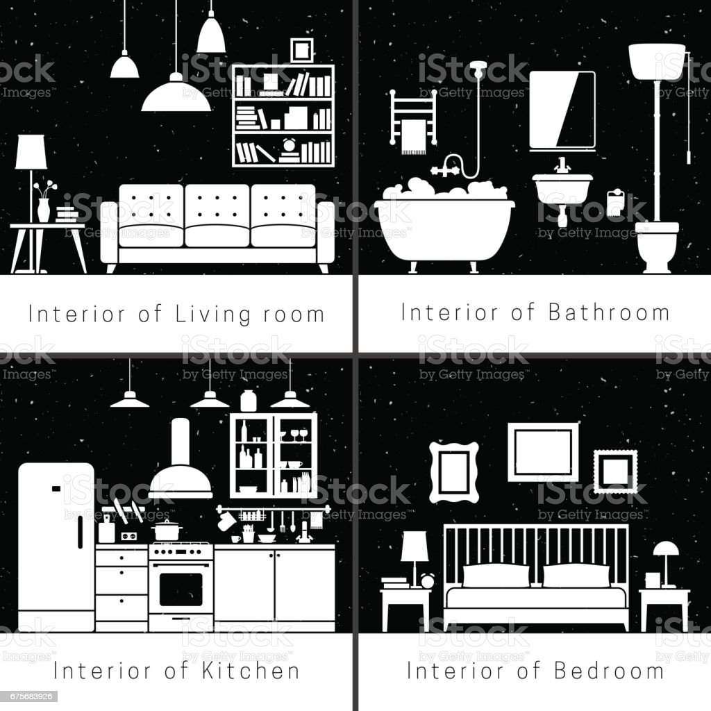 Interior silhouettes of flat rooms royalty-free interior silhouettes of flat rooms stock vector art & more images of apartment