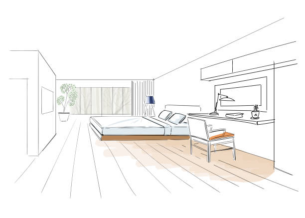 Interior sketch of hotel room. Illustration of bedroom in hotel. bedroom drawings stock illustrations