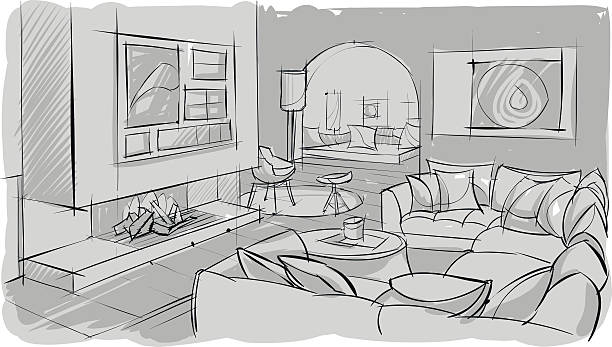 Best One Point Perspective Living Room Illustrations ...