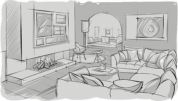 Interior sketch of living room vector art illustration