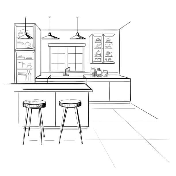 Innenskizze der modernen Küche mit Insel. – Vektorgrafik