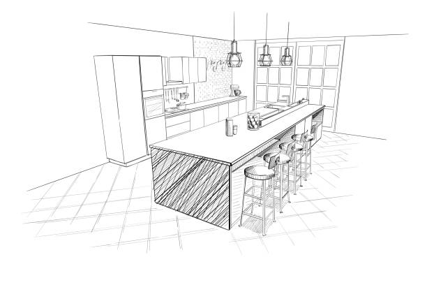 Interior sketch of modern kitchen with island. Interior sketch of modern kitchen with island. domestic kitchen stock illustrations
