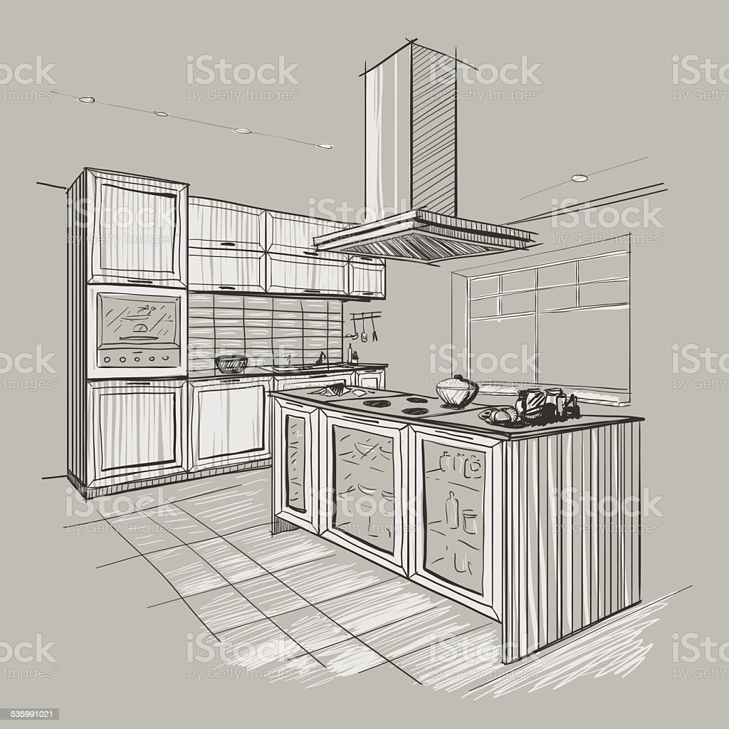 Interior sketch of modern kitchen with island. vector art illustration