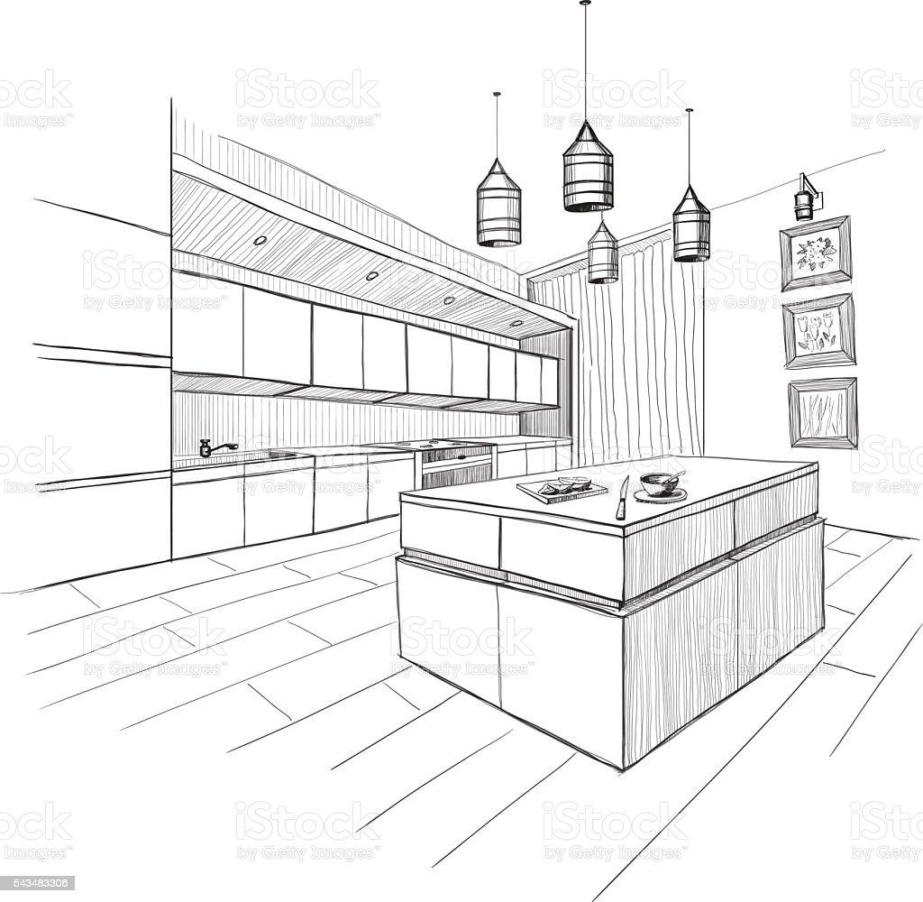 Interior sketch of modern kitchen with island.
