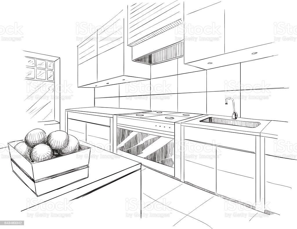 Interior sketch of modern kitchen with island. vector art illustration