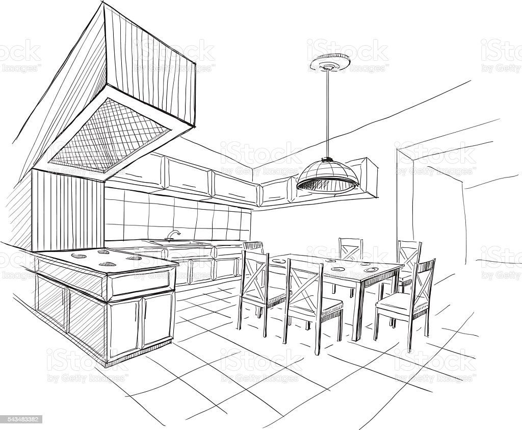 Interior Sketch Of Modern Kitchen With Island Stock Vector Art More Images Of Apartment