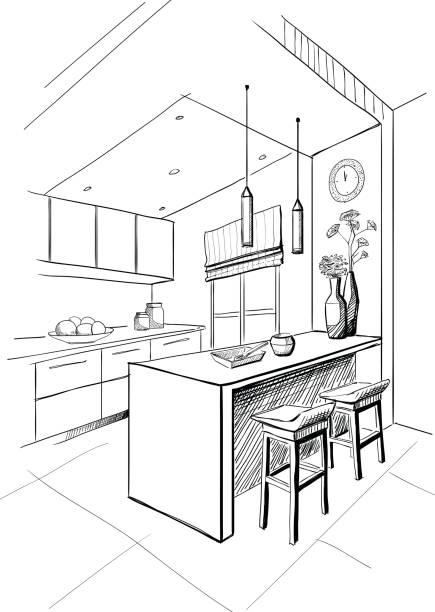 Innen Skizze des modernen Küche mit Insel. – Vektorgrafik