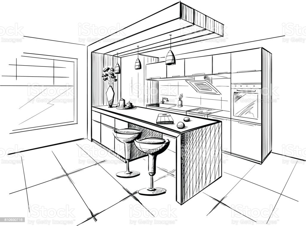 Interior sketch of modern kitchen with island.