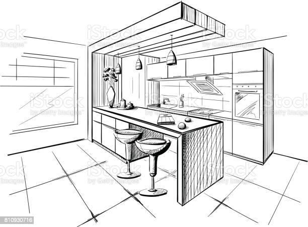 Interior sketch of modern kitchen with island vector id810930716?b=1&k=6&m=810930716&s=612x612&h= tjt9kzwgygawjvd1mgiriwdke 6abk3 kzagtwktmc=