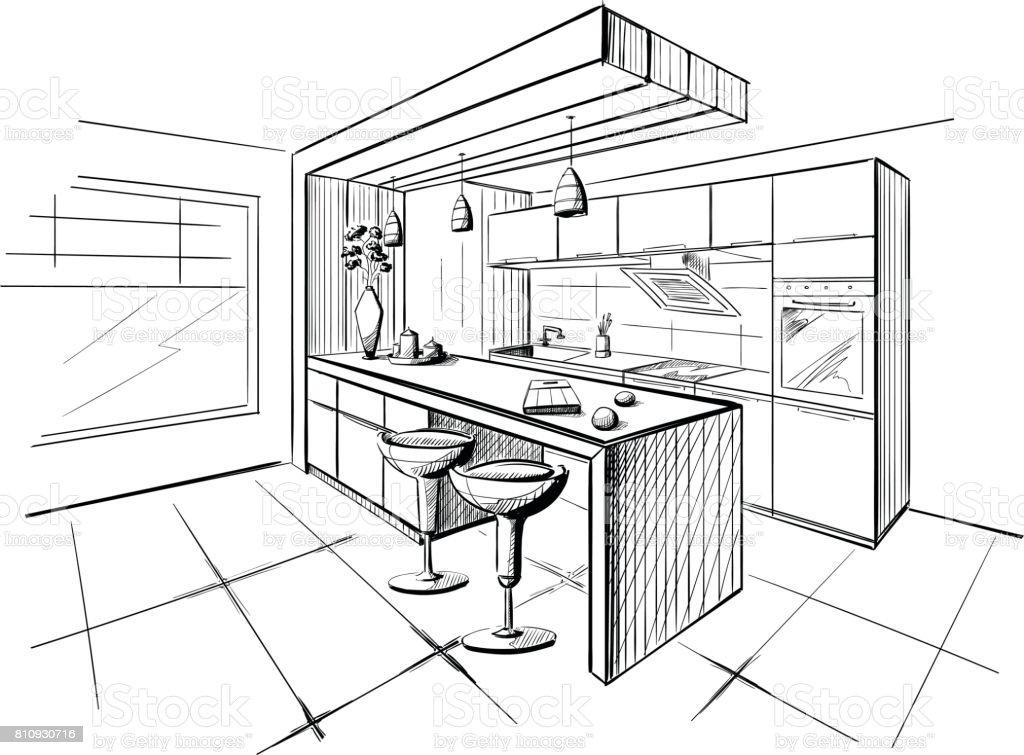 Boceto Interior de la moderna cocina con isla. - ilustración de arte vectorial