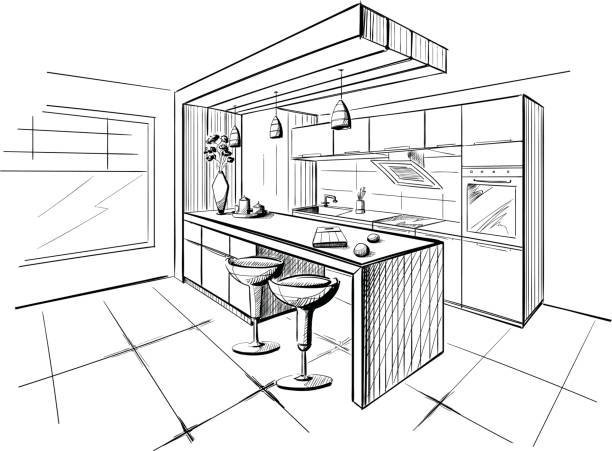 Interior sketch of modern kitchen with island. Interior sketch of modern kitchen with island. kitchen stock illustrations