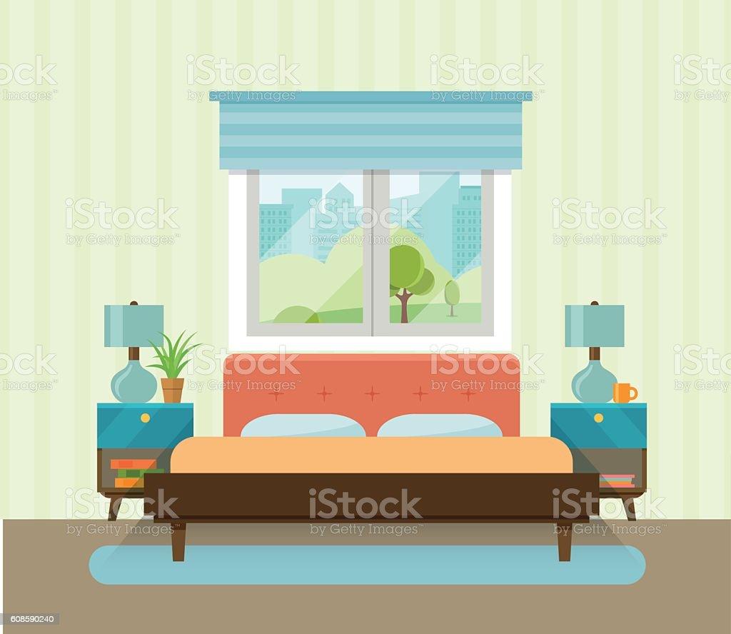 Interior space bedroom. Vector flat illustration vector art illustration