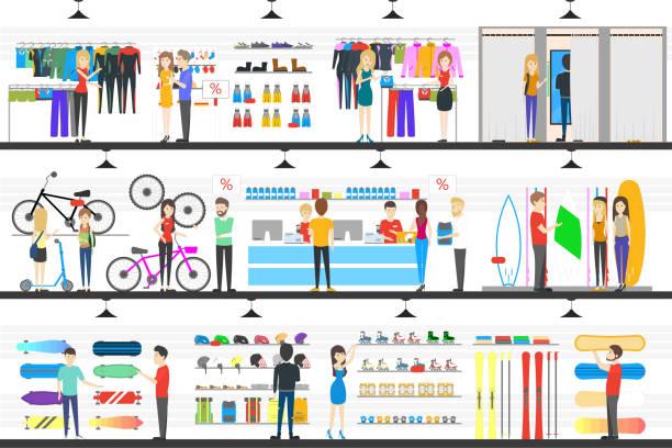 illustrazioni stock, clip art, cartoni animati e icone di tendenza di negozio interno di merci. - negozio sci
