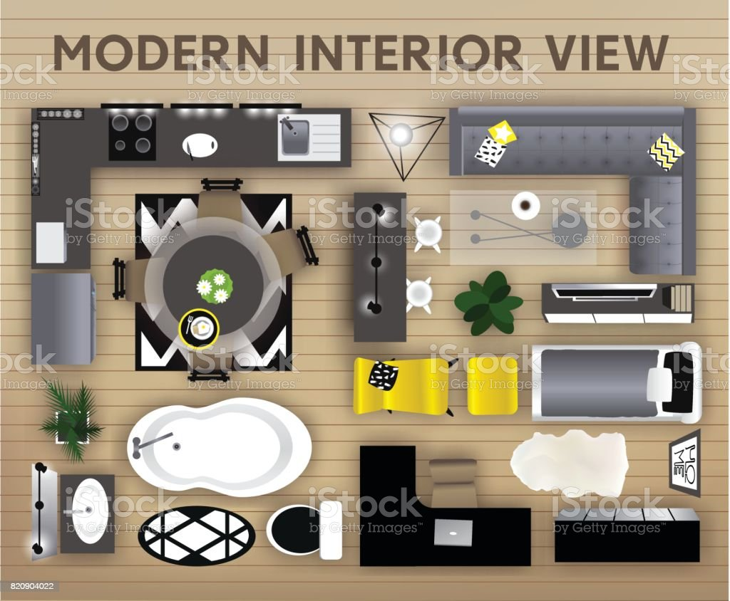 Interior Top View Vector Illustration Set Of Interior Top