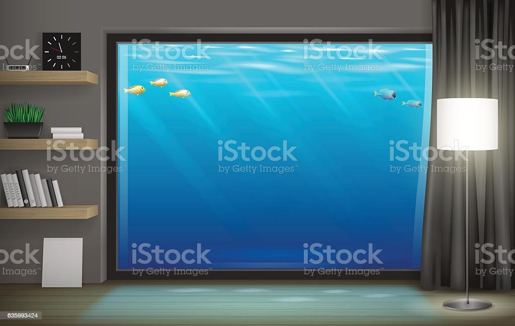Interior underwater hotel 벡터 아트 일러스트