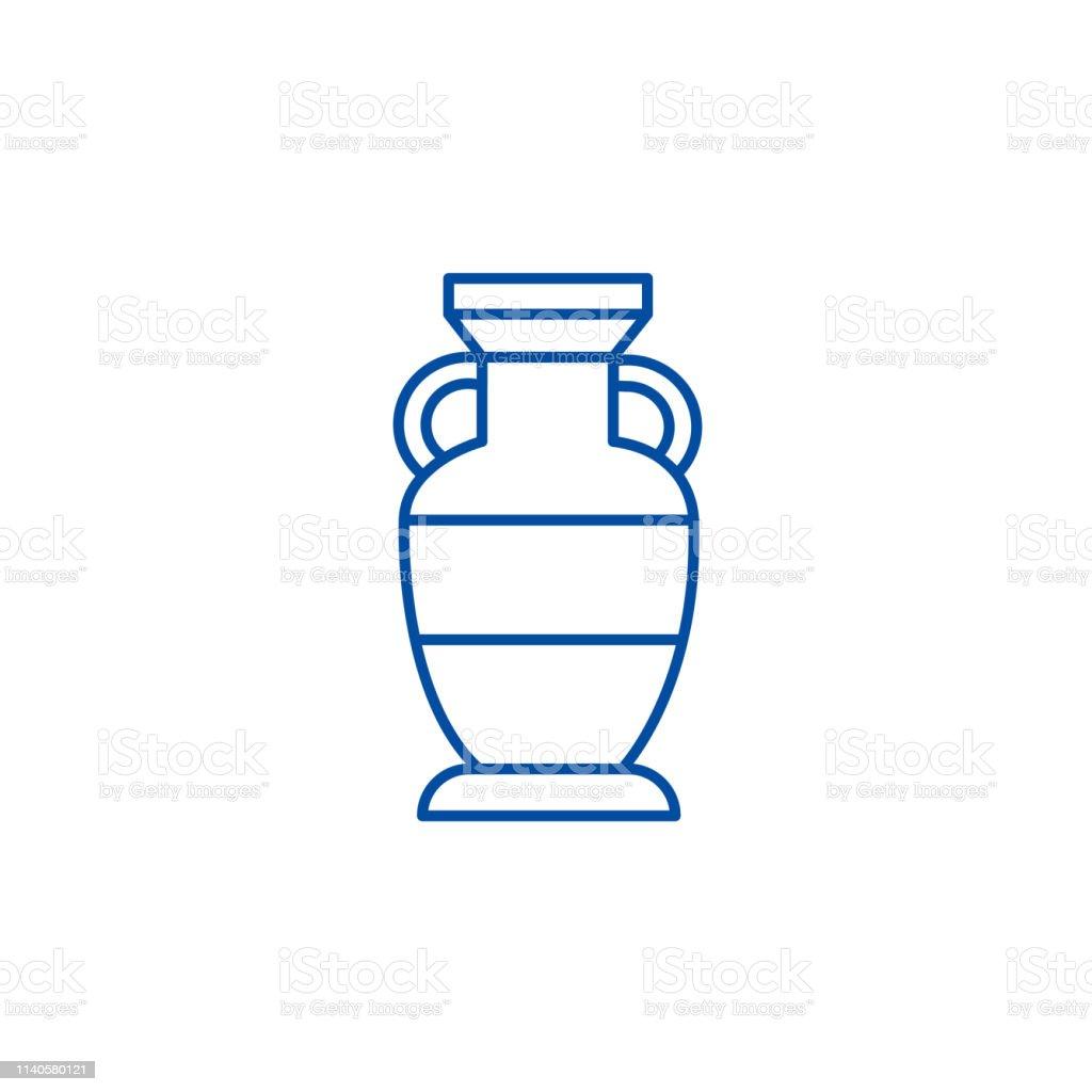 Interior vase line concept icon. Interior vase flat vector website...