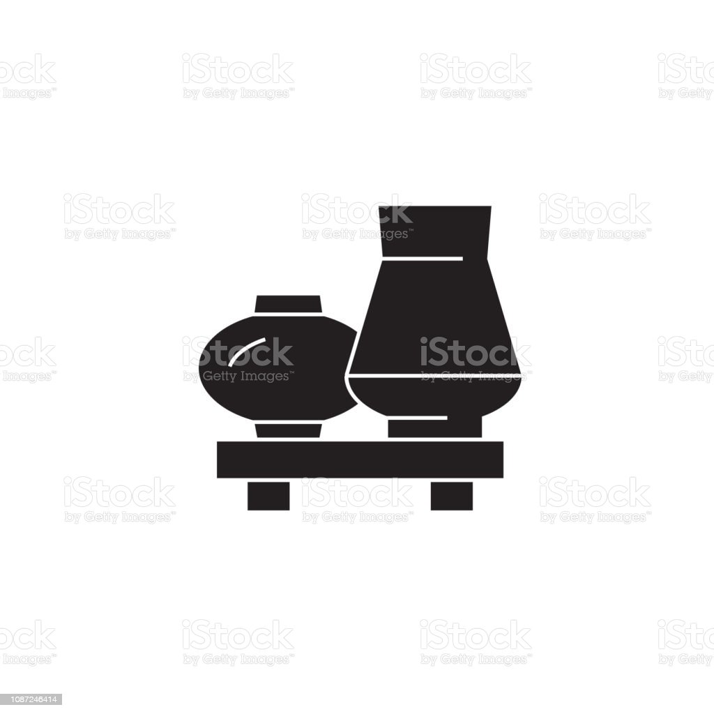 Interior vases black vector concept icon. Interior vases flat...