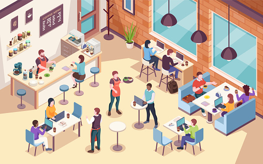 Interior view on people working and having lunch at cafe or cafeteria, work or job coffee meeting. Isometric view of dining room for office coworkers. Businessman and businesswoman workplace