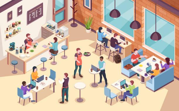 innenansicht von menschen, die arbeiten und im café oder cafeteria zu mittag essen, arbeiten oder kaffee trinken. isometrische ansicht des speisesaals für büromitarbeiter. arbeitsplatz für unternehmer und geschäftsfrau - restaurant stock-grafiken, -clipart, -cartoons und -symbole