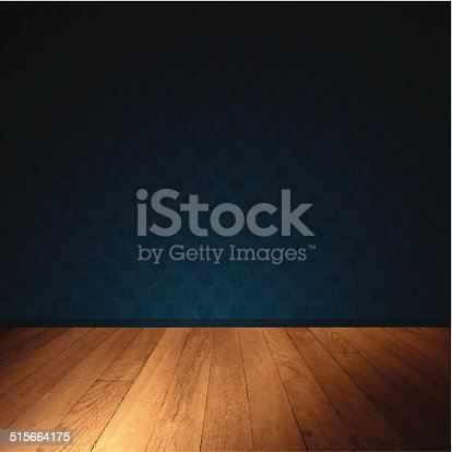 istock Interior Wall with Wooden Floor - Dimly Lit Room 515664175