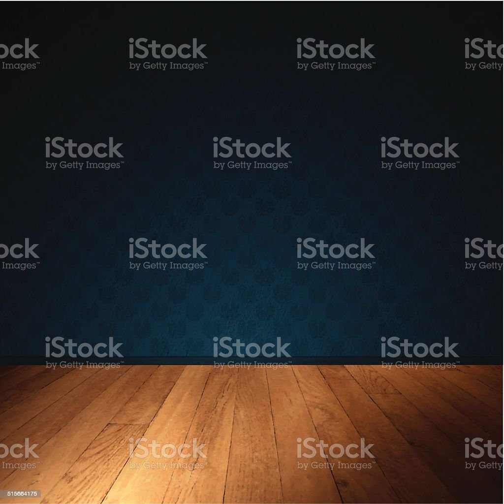 Interior Wall with Wooden Floor - Dimly Lit Room vector art illustration