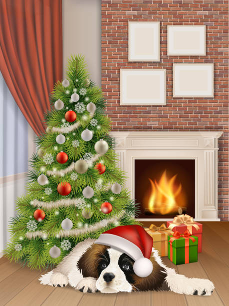 Christmas Fireplace Scene Clipart.Best Christmas Fireplace Scene Cartoon Illustrations