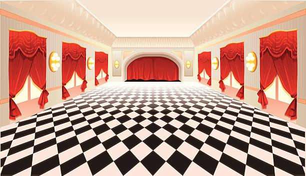 innenraum mit roten vorhängen und fliesenboden - ballsäle stock-grafiken, -clipart, -cartoons und -symbole