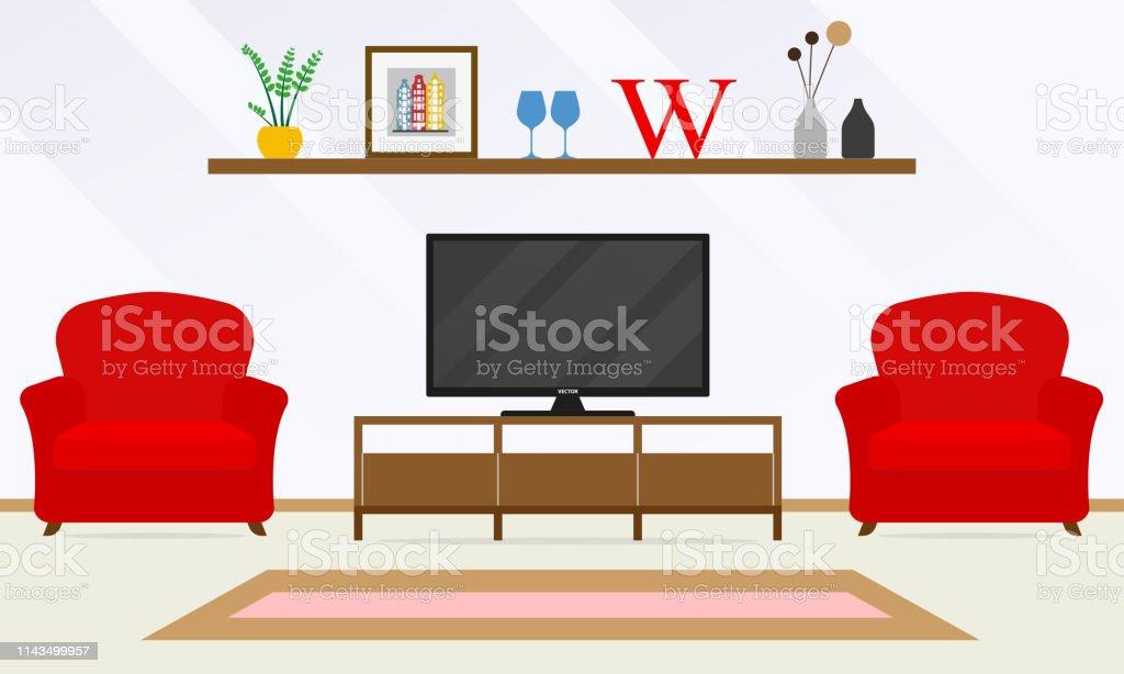 Intérieur Avec Tv Et Fauteuils Rouges Modèle De Conception ...