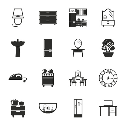interior,furniture 16 icons universal set for web and mobile