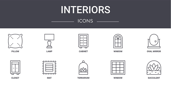 interiors concept line icons set. contains icons usable for web, logo, ui/ux such as lamp, window, closet, terrarium, window, succulent, oval mirror, cabinet