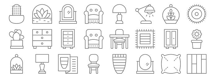 interiors line icons. linear set. quality vector line set such as floor, oval mirror, chair, terrarium, wardrobe, cabinet, mat, light, succulent