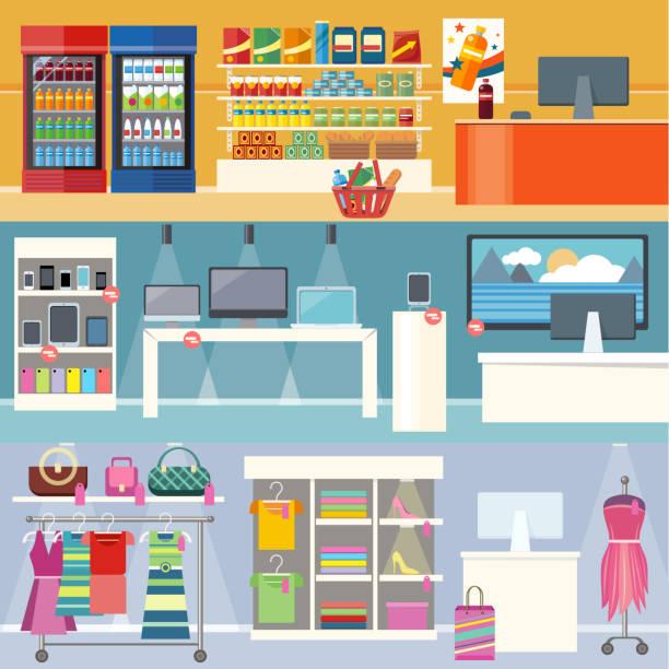 ilustrações de stock, clip art, desenhos animados e ícones de interiores guarda roupa, de tecnologia e de alimentos - prateleira compras