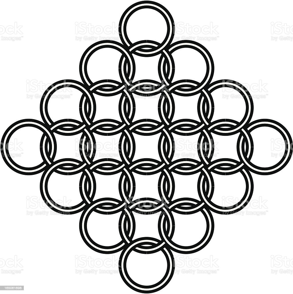 Interlocked Cross Design, Tattoo vector art illustration